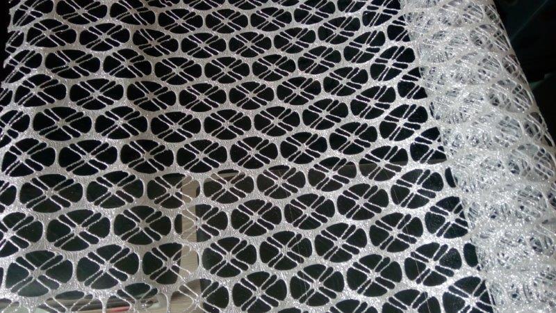 Dekorační krajka glitter 48 cm stříbrná
