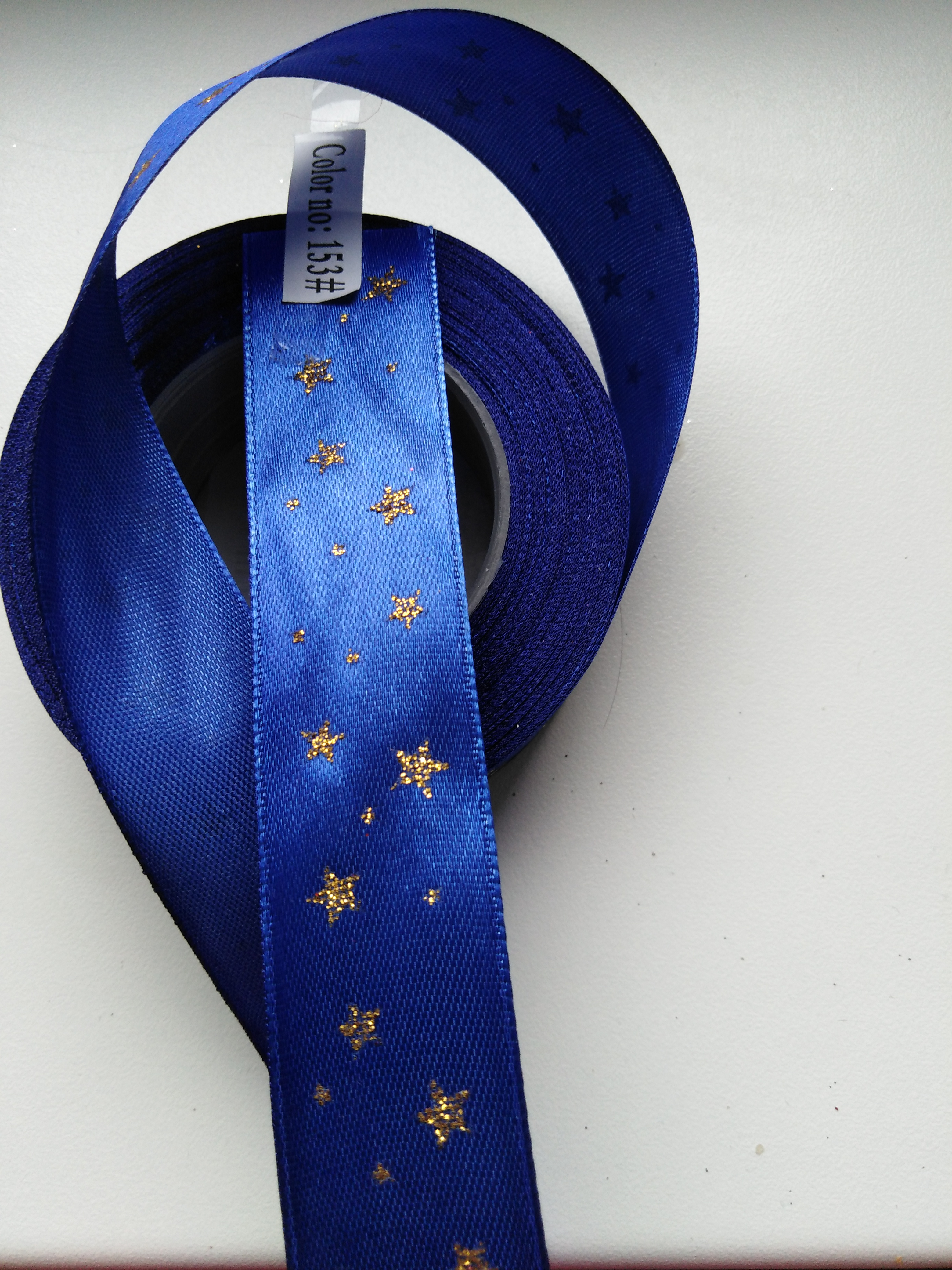 Saténová stuha tisk hvězdy 25 mm modrá