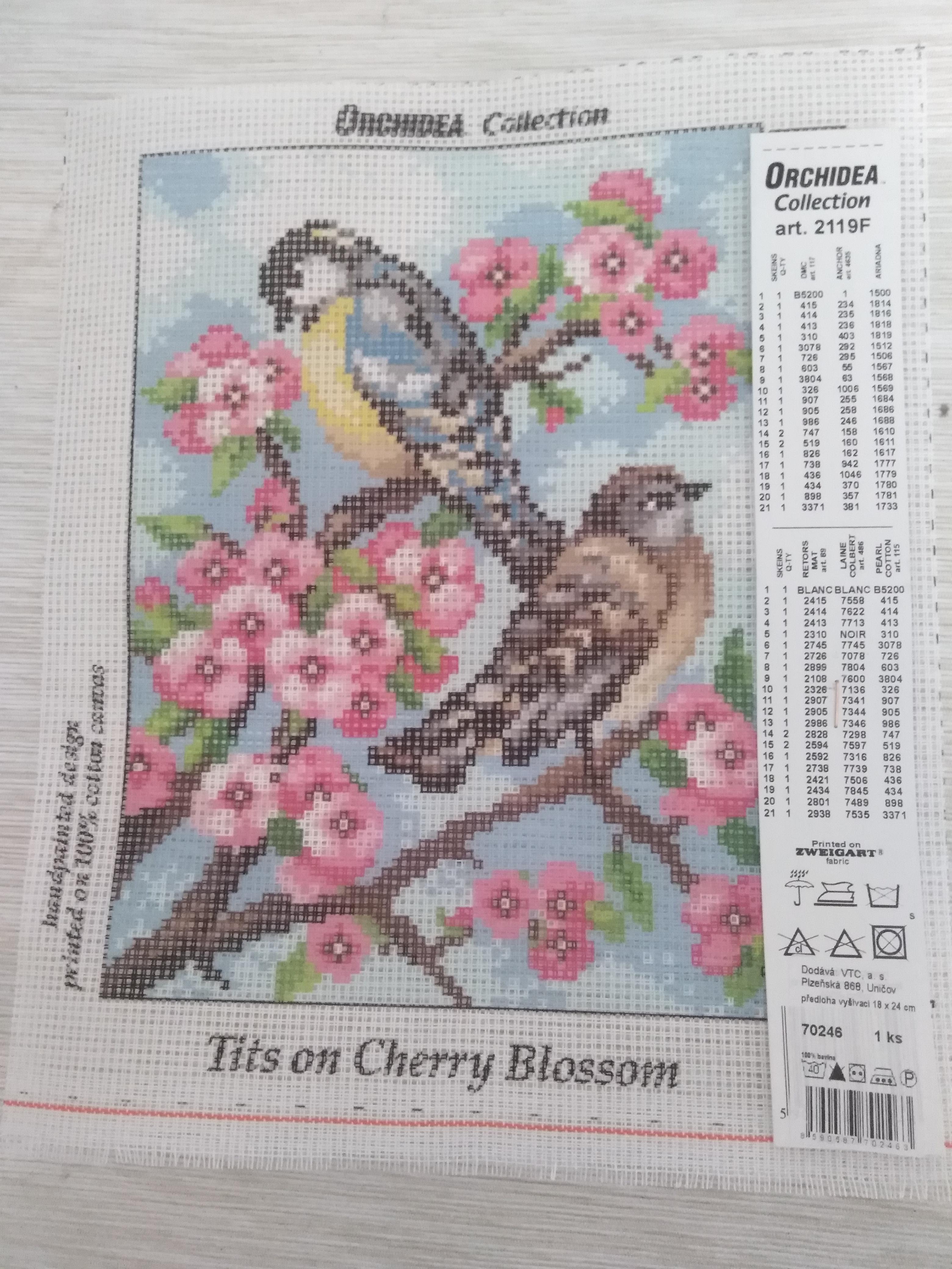 Předloha vyšívací 18 x 24 cm Ptáci
