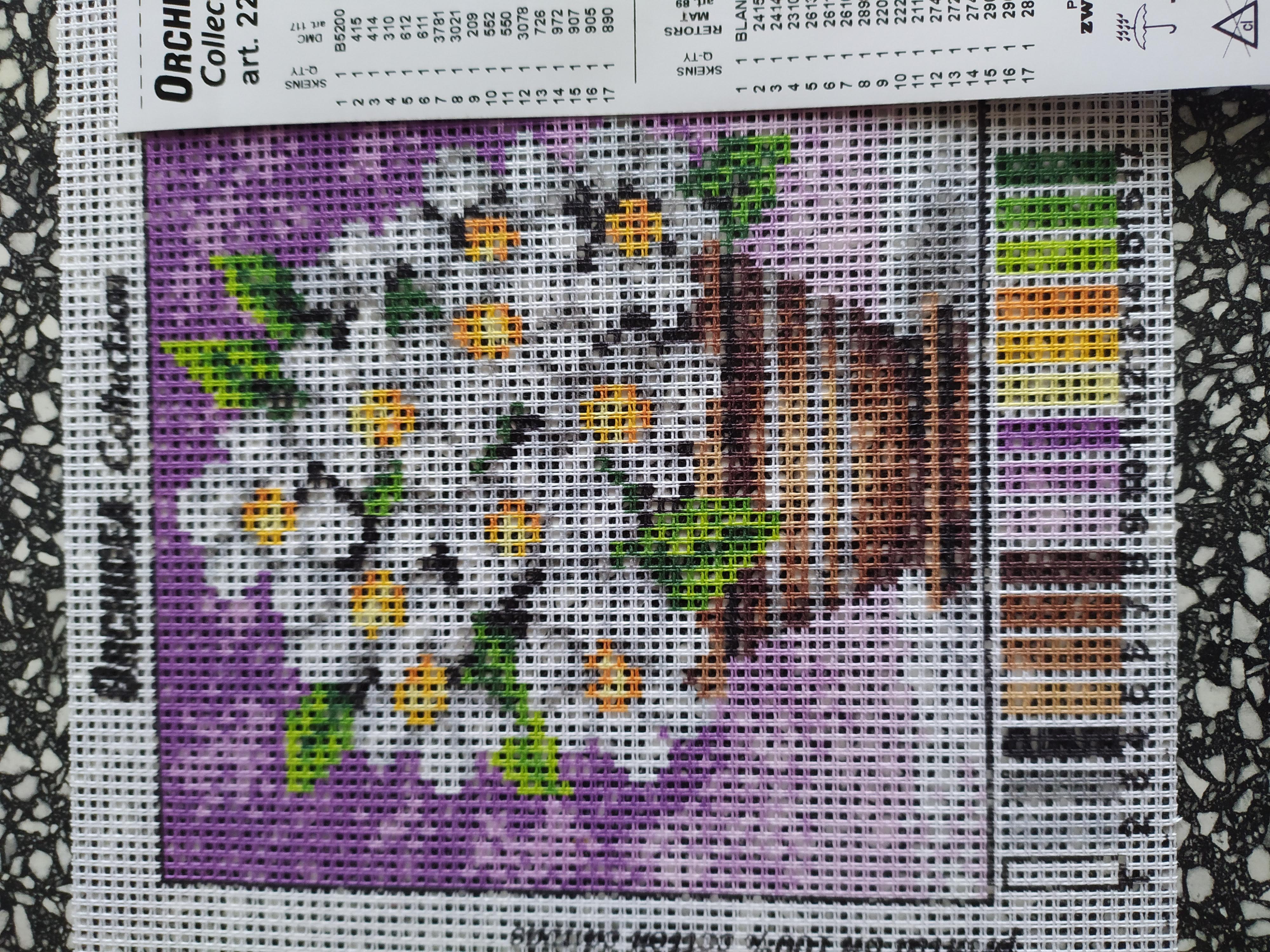 Předloha na vyšívání 15 x 15 cm květiny 2