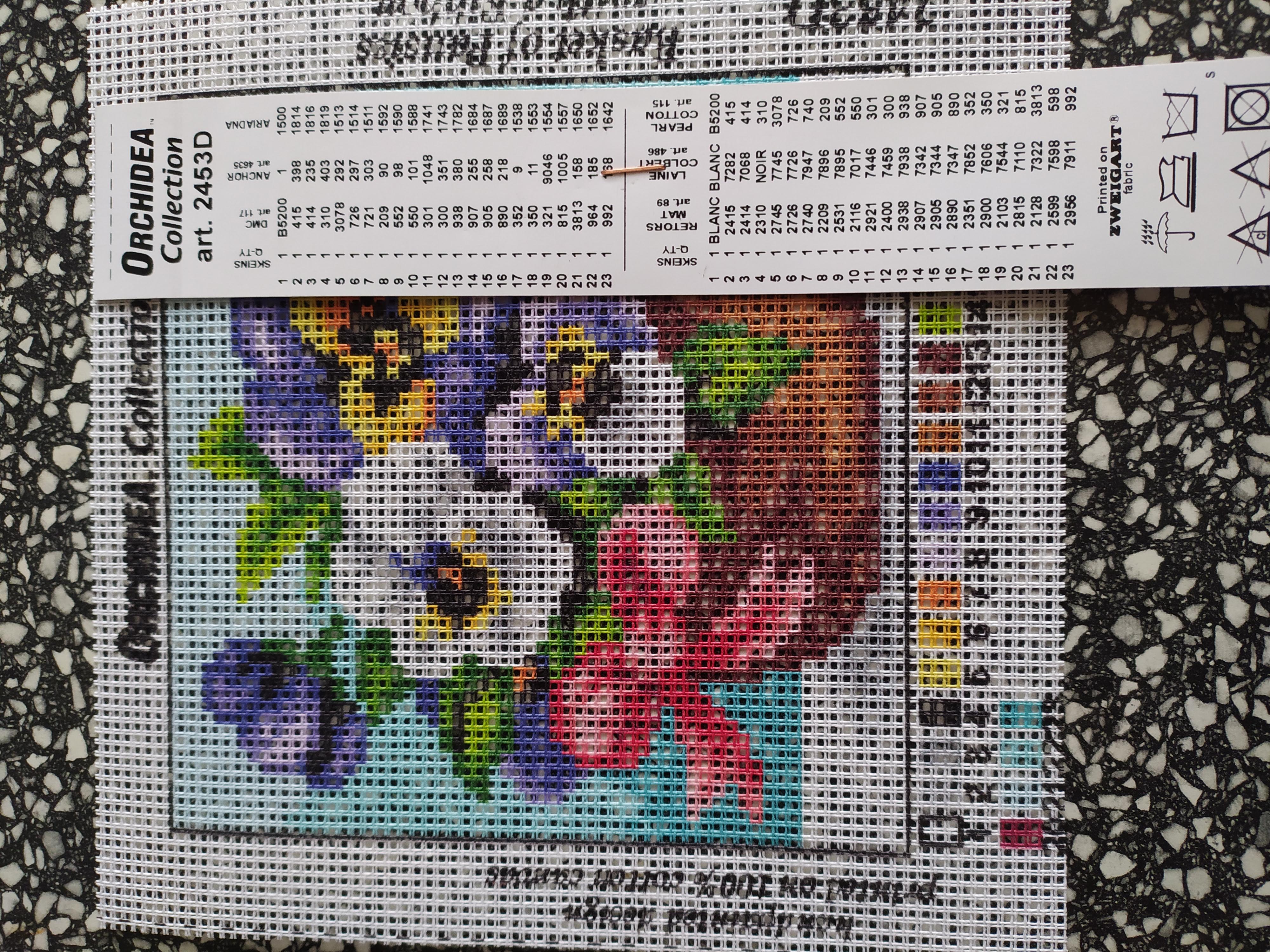Předloha na vyšívání 15 x 15 cm květiny 9
