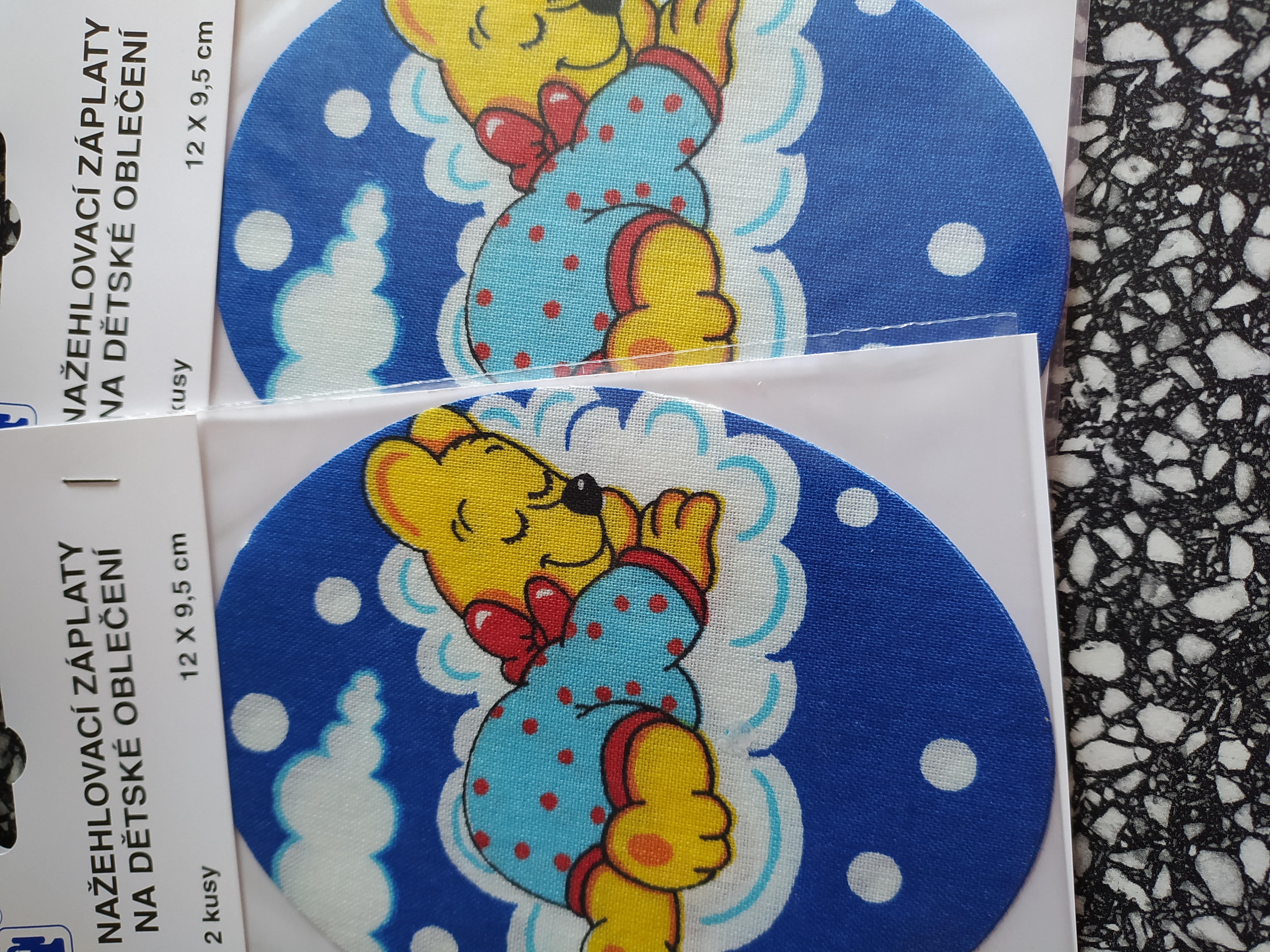 Dětské nažehlovací záplaty medvídek modrý